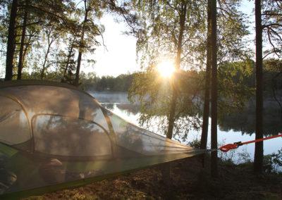 Trädtält och solnedgång
