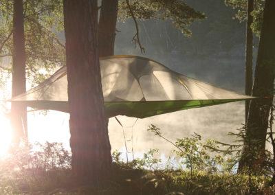 Trädtält i solnedgången